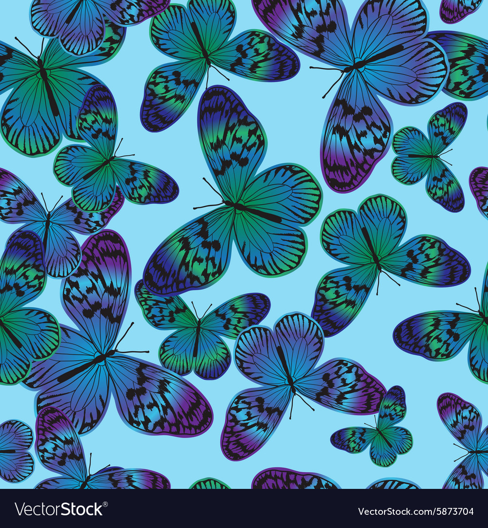 Seamless pattern with vintage green-blue butterfly vector image