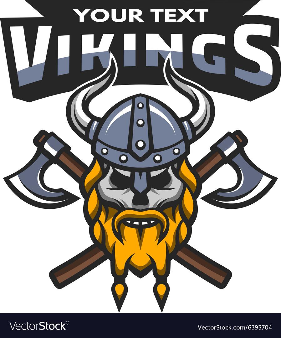 viking warrior skull label emblem royalty free vector image