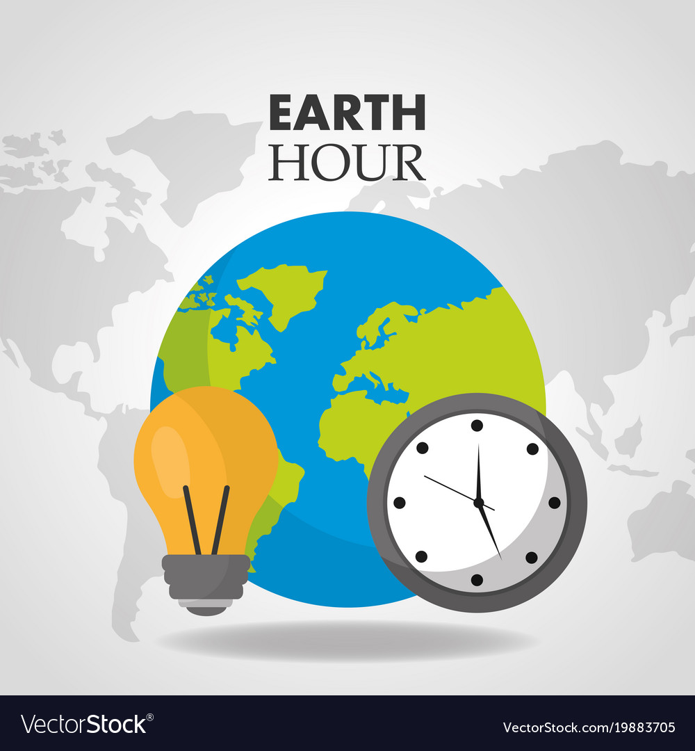 Earth hour world clock bulb map background vector image gumiabroncs Choice Image