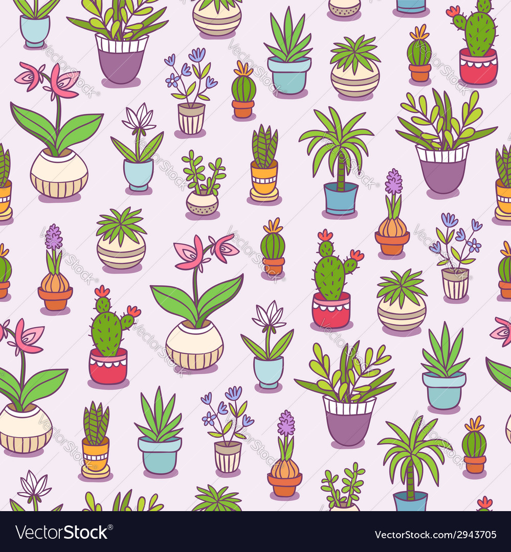 Home plants seamless pattern vector image