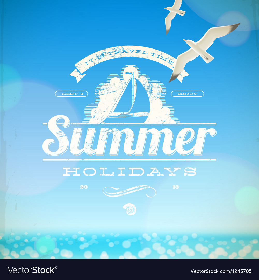 Summer holidays emblem with yacht vector image