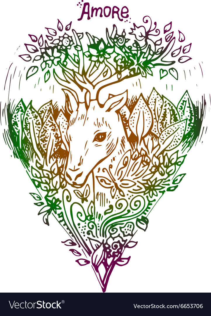 Abstract graphic colored deer print vector image