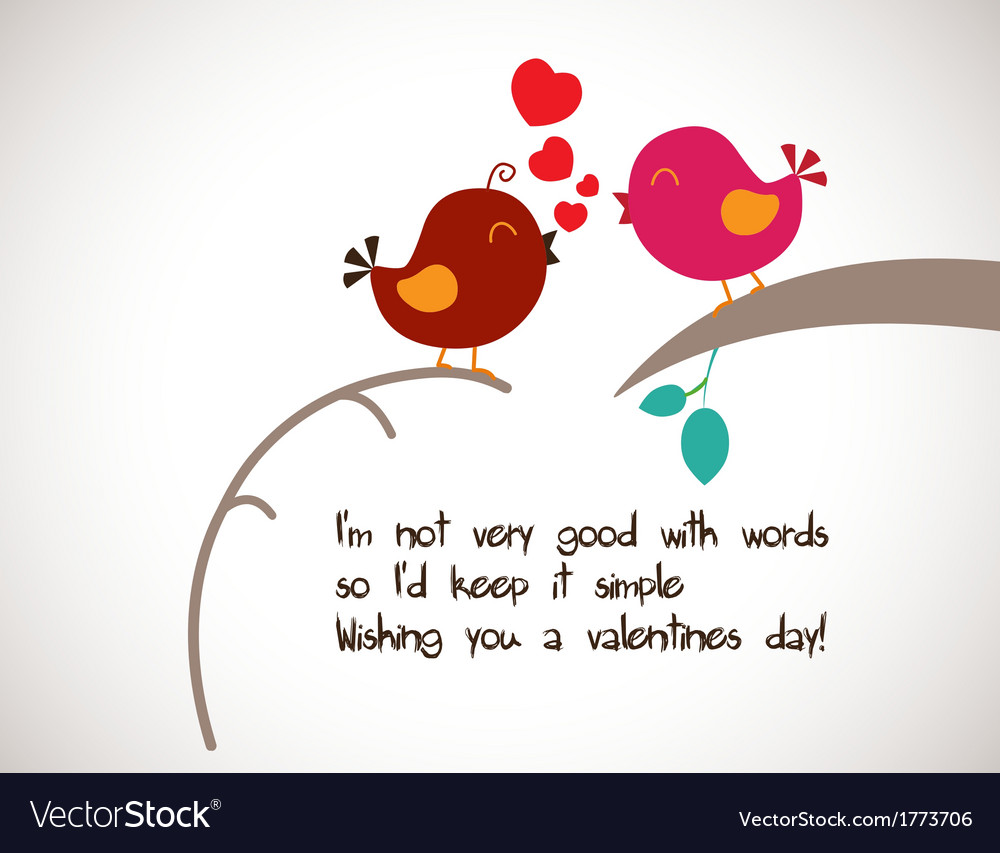 Happy Valentine Greetings With Two Bird Vector Image