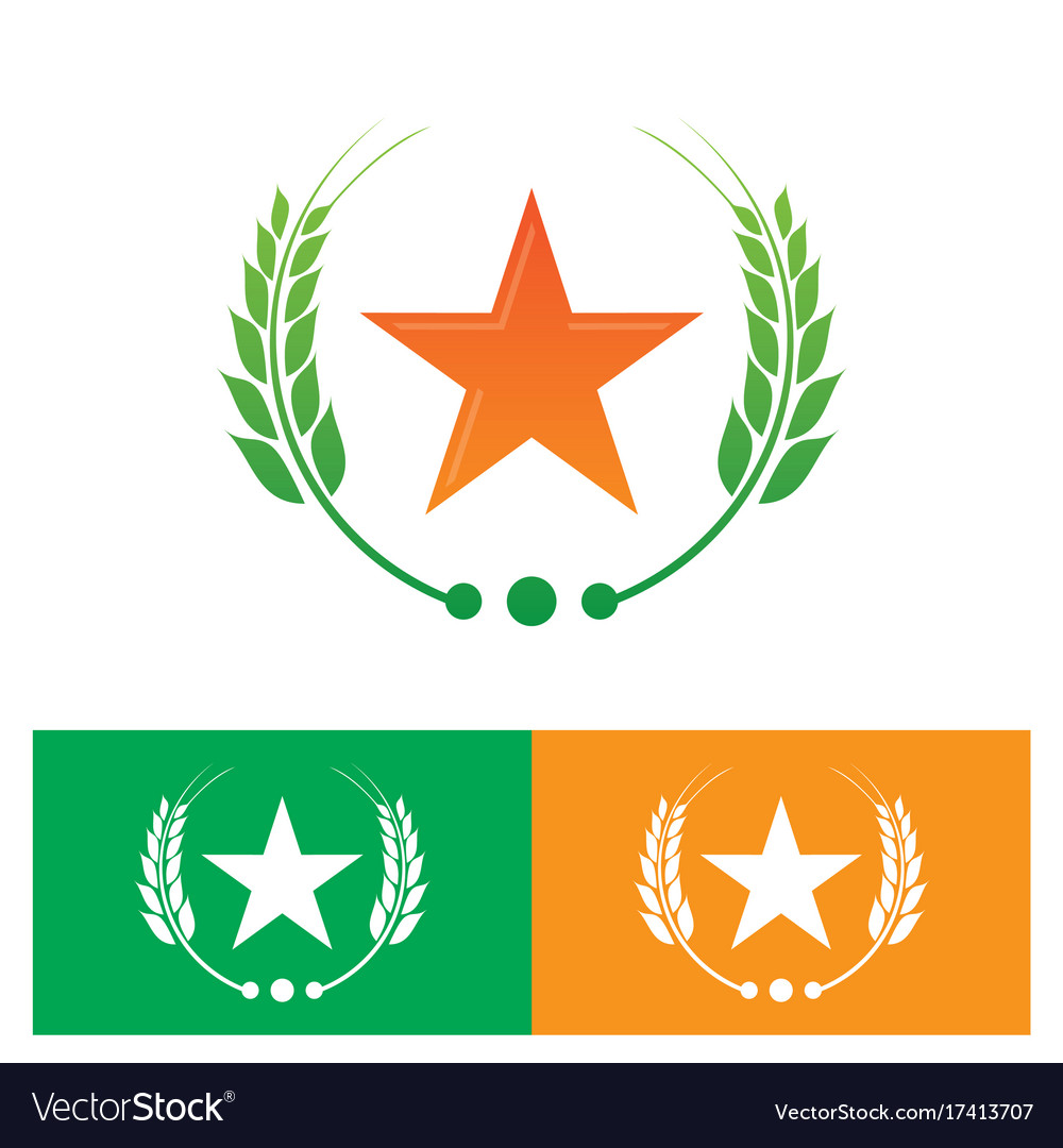 Star and laurel wreath logo vector image