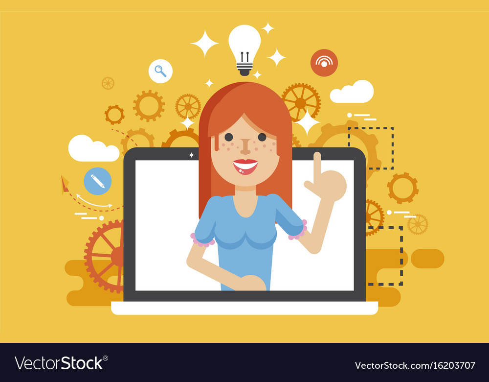 Woman with idea lamp light vector image