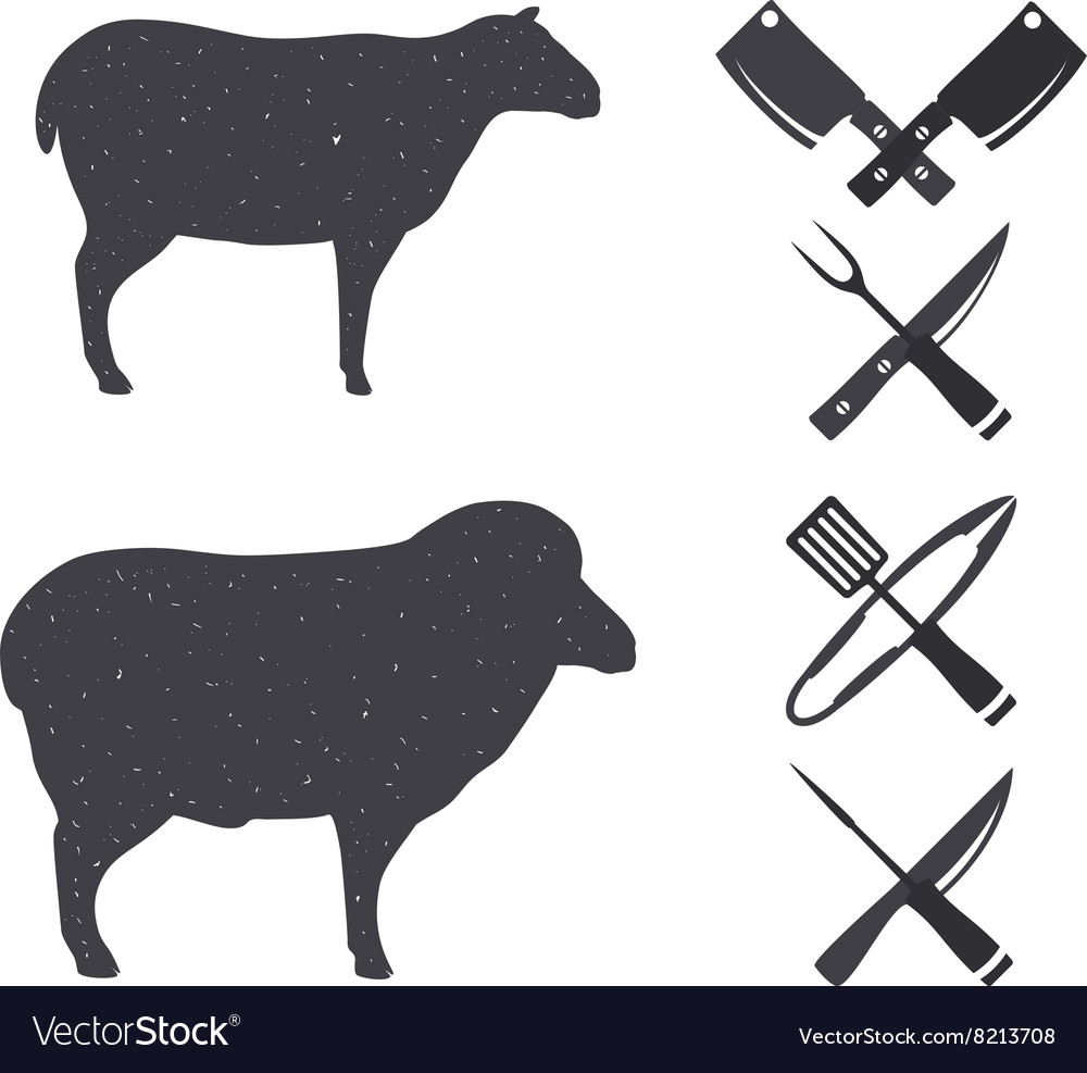 Black silhouettes of a sheep and a ram vector image