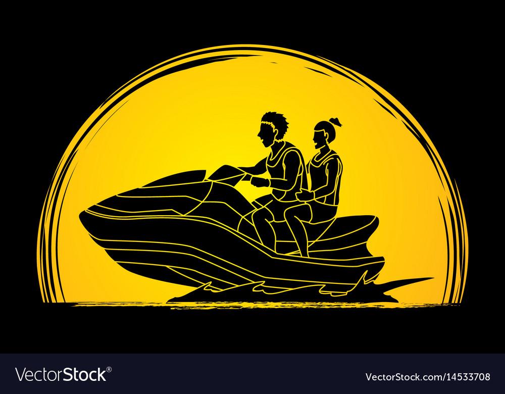 Couple riding jet ski man and woman enjoy riding vector image