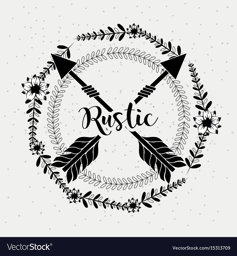 Rustic branches around of arrows vector image