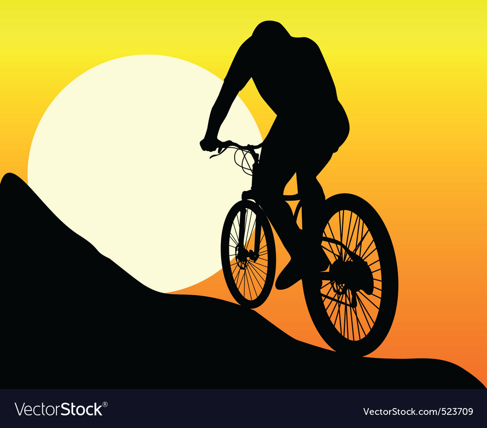 silhouette of a mountain biker vector image