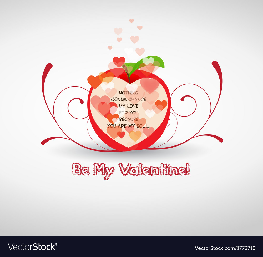 Happy valentine greetings with apple royalty free vector happy valentine greetings with apple vector image kristyandbryce Images