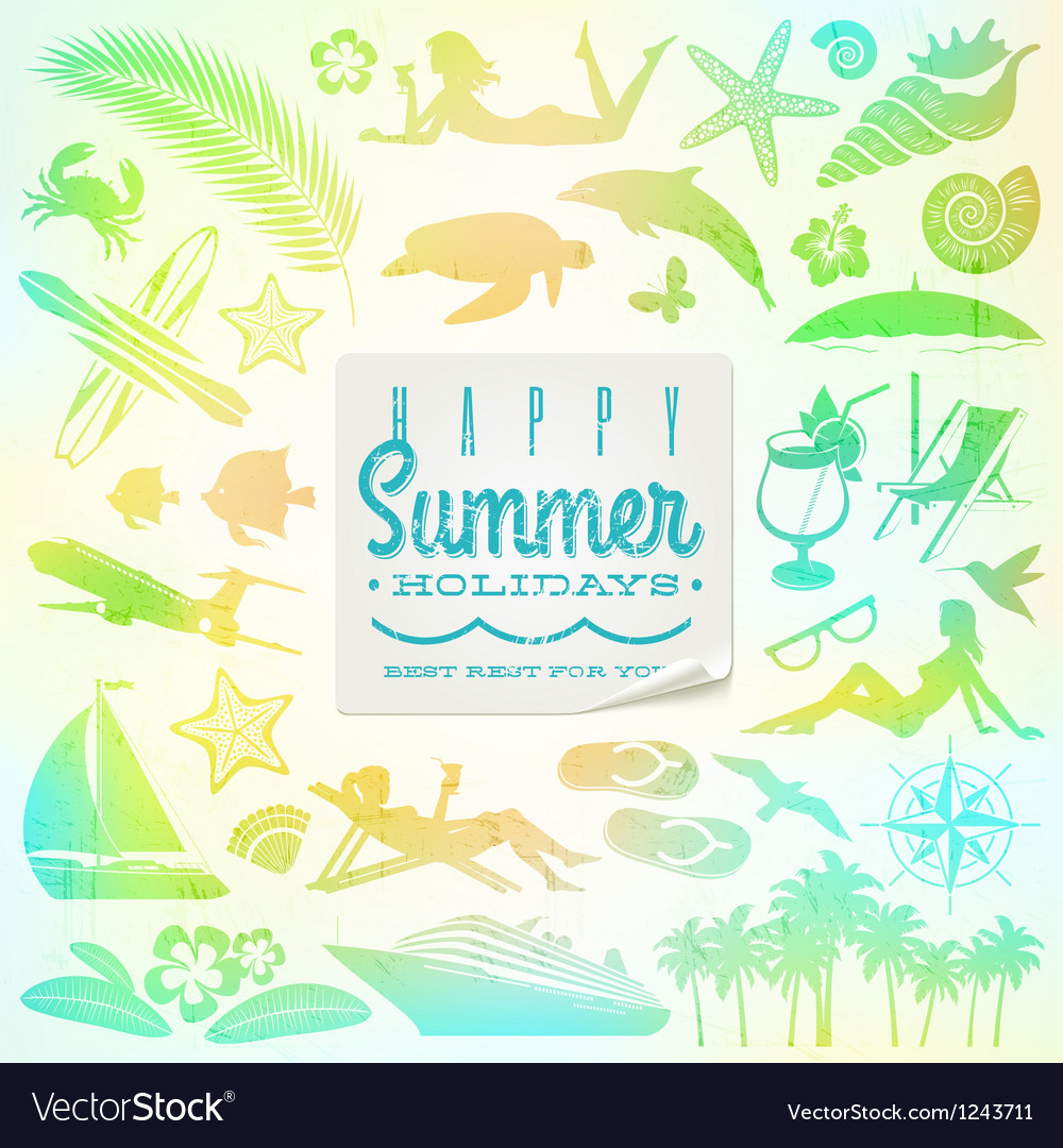 Rest vacation and travel set vector image