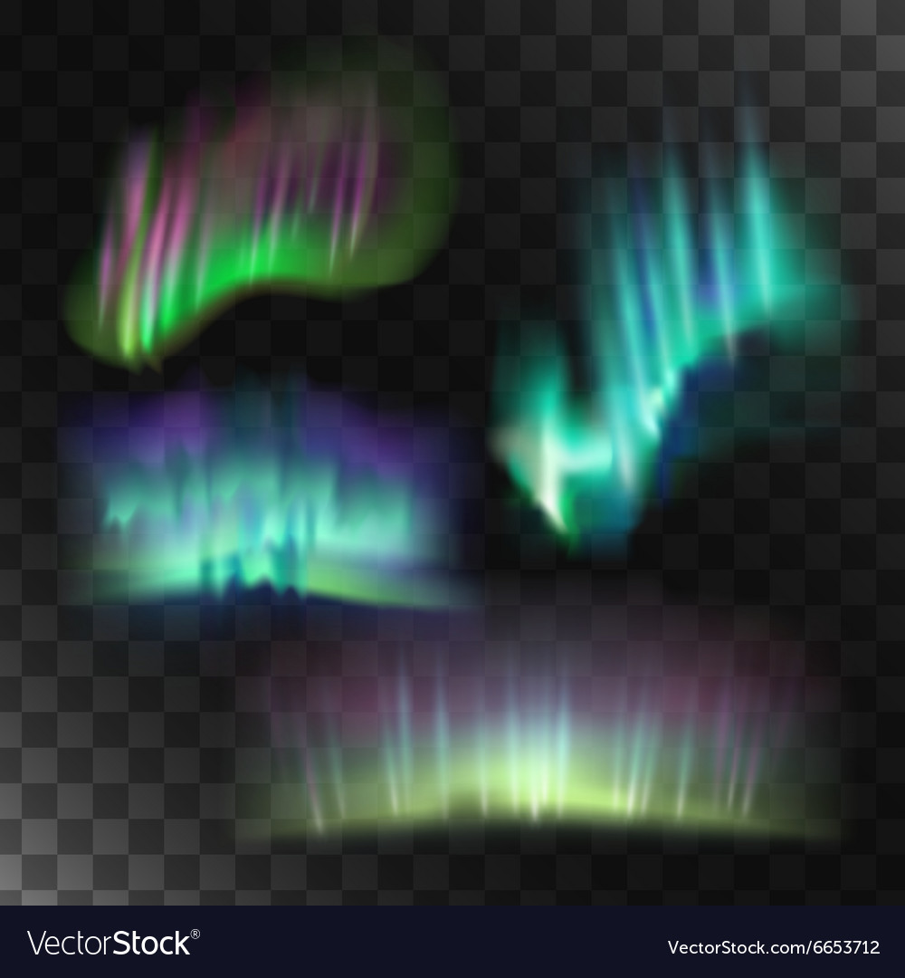 Northern lights set vector image