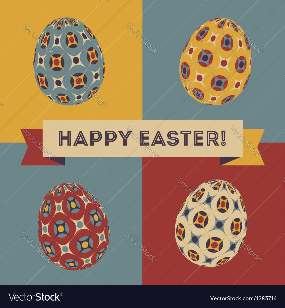 Easter card with 4 patterned eggs vector image