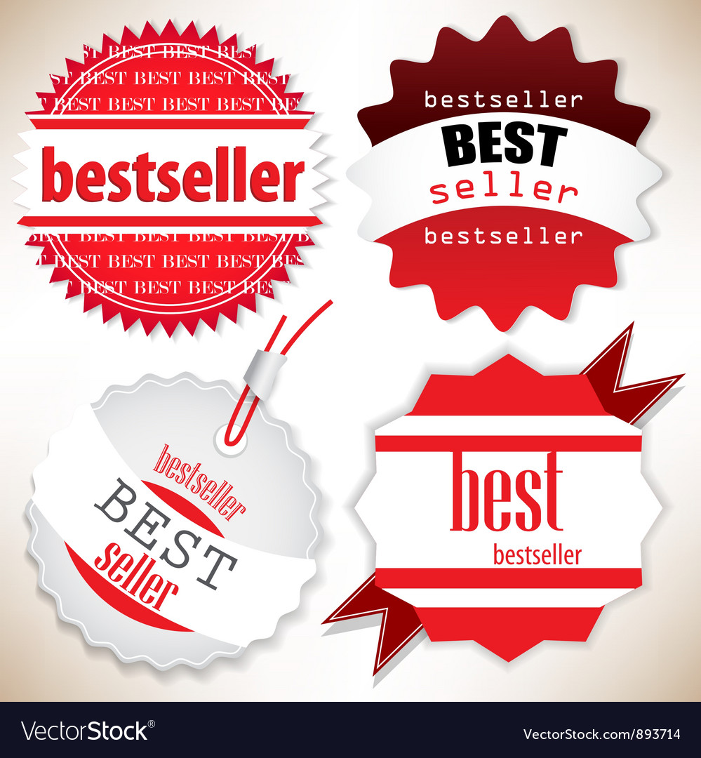 Bestseller Red labels set vector image