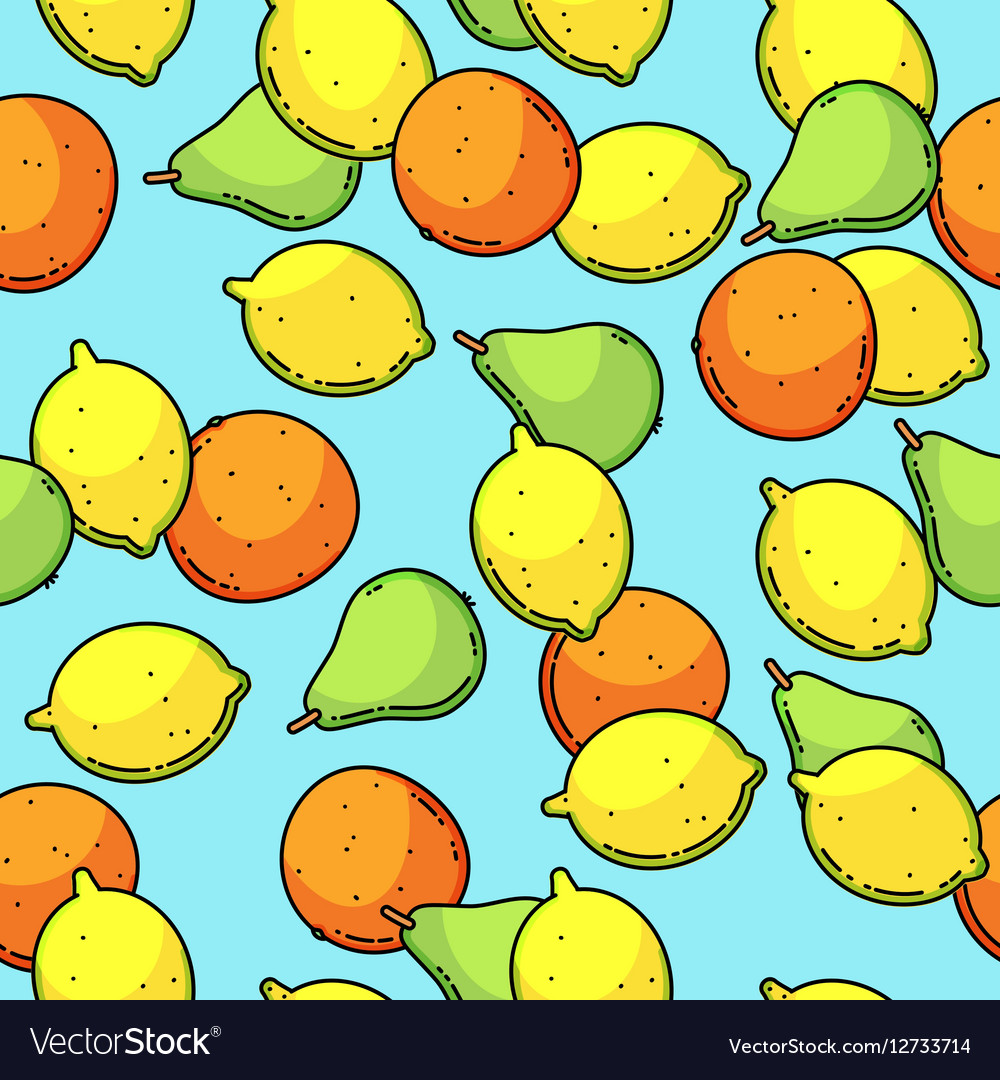 Seamless pattern with lemon pear and vector image