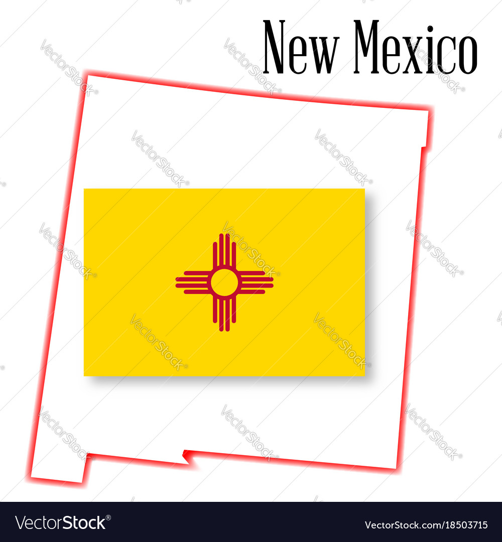 New mexico state map and flag royalty free vector image new mexico state map and flag vector image buycottarizona