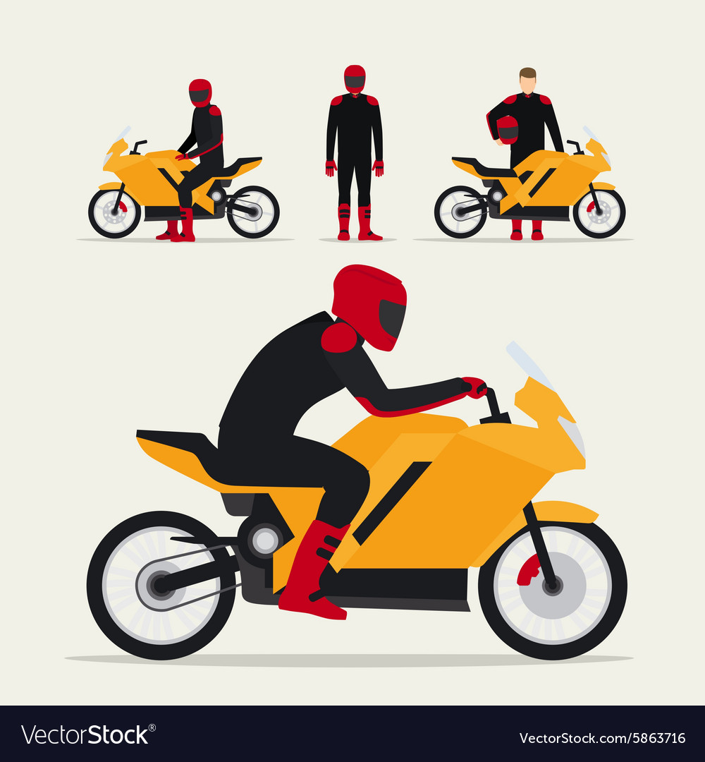 Biker with motorcycle vector image