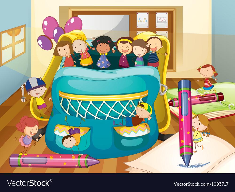 Kids and big bag vector image