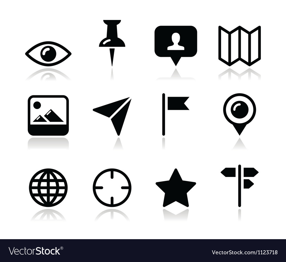 Location map travelling icon set - vector image