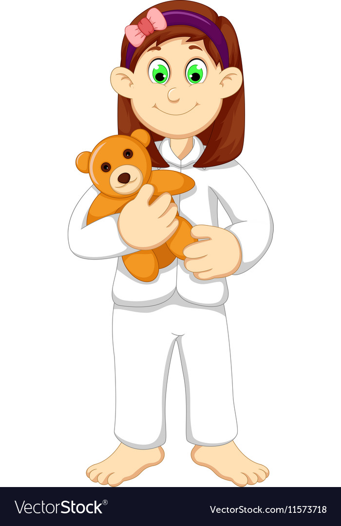 Cute sleepy girl cartoon holding teddy bear vector image