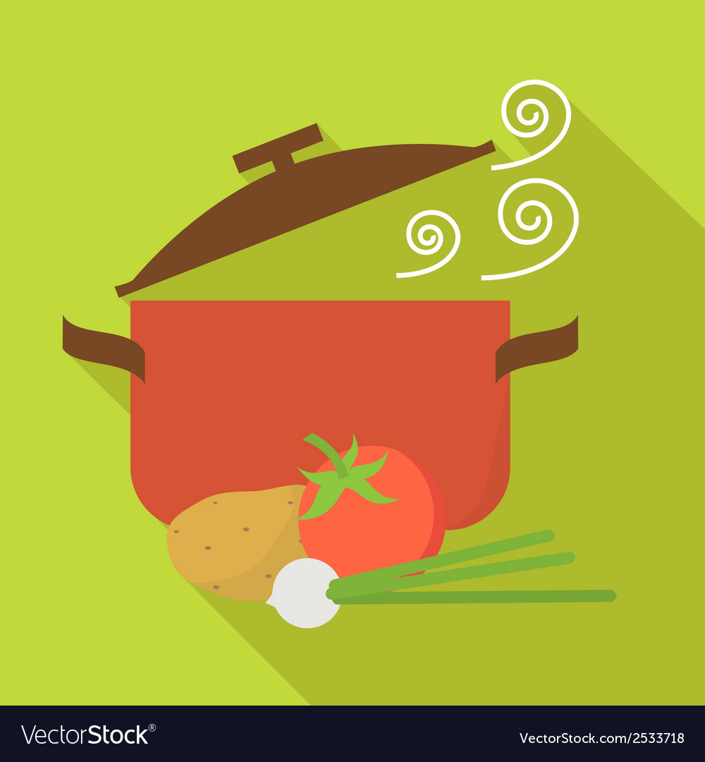 Food and cooking icons Vegetarian soup Flat design vector image