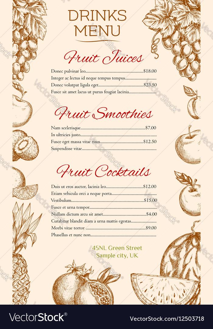 Fruit juice cocktail smoothie drinks menu design vector image