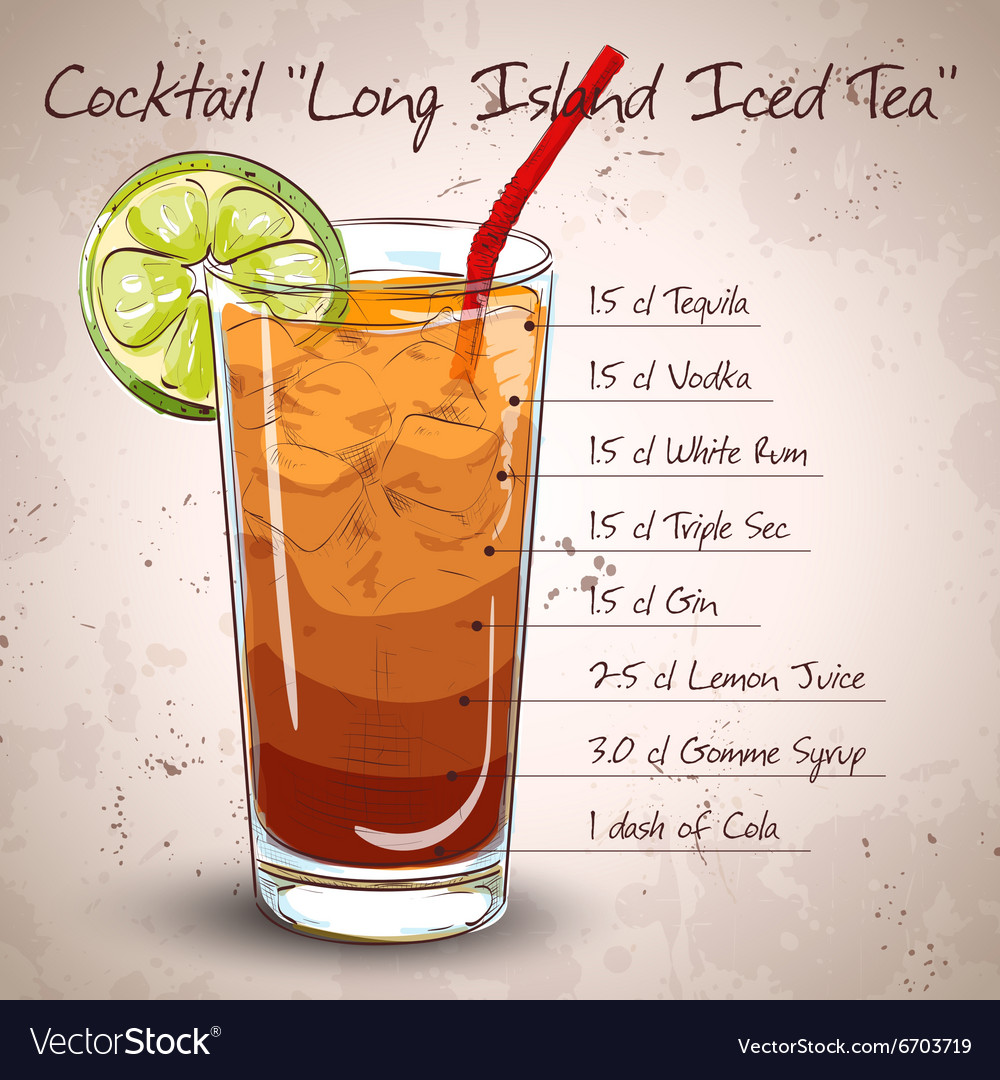 Cocktail Long Island Iced Tea Royalty Free Vector Image