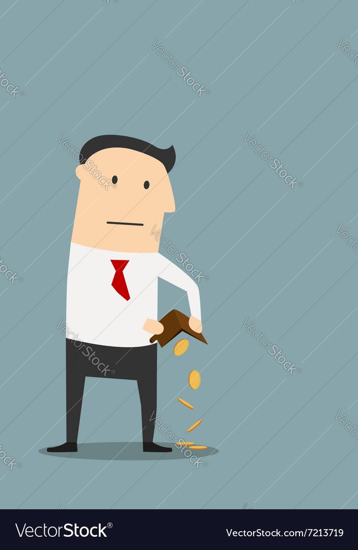 Bankrupt businessman with empty wallet vector image