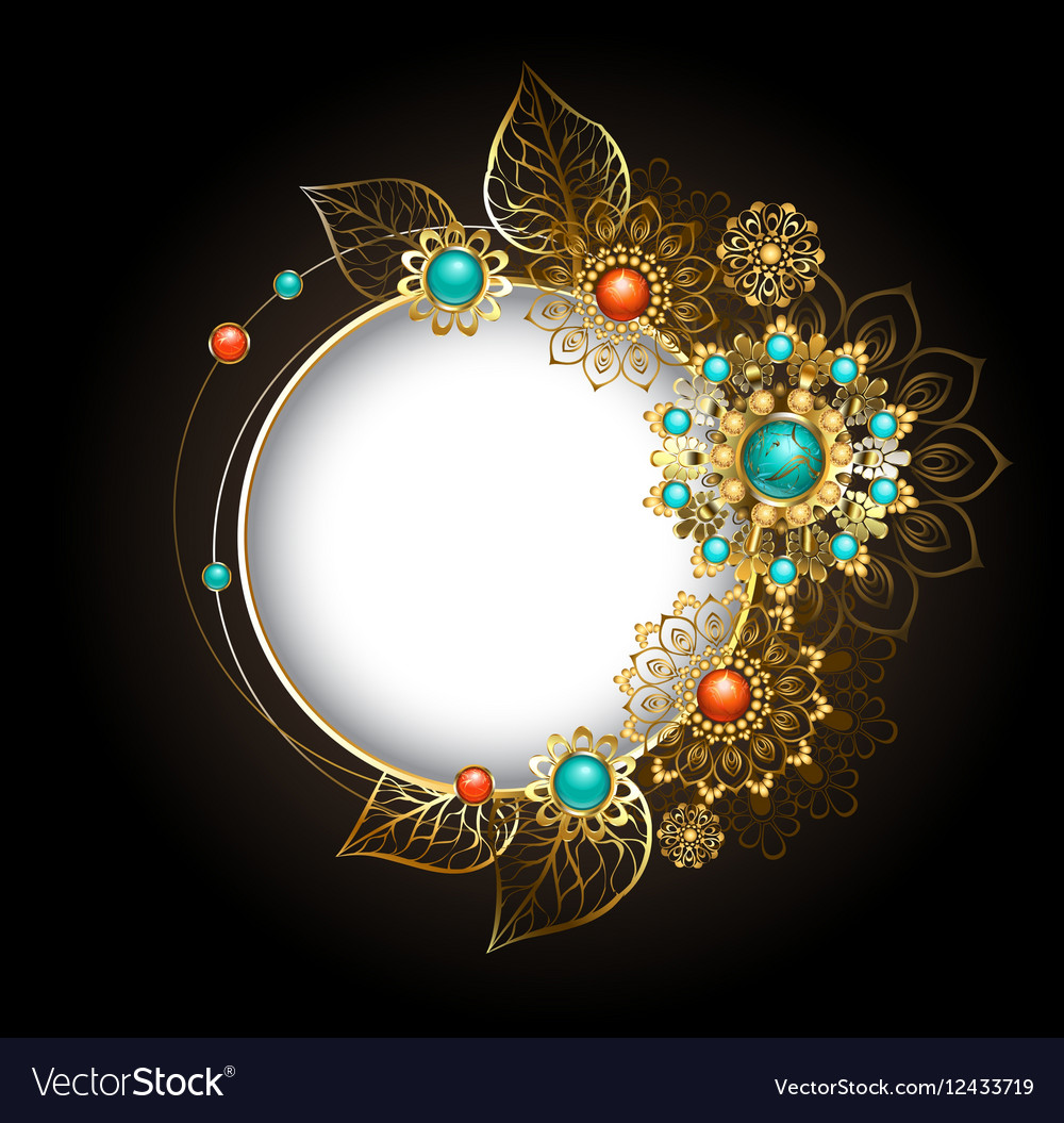Round Banner with Gold Ornaments Ethnic vector image