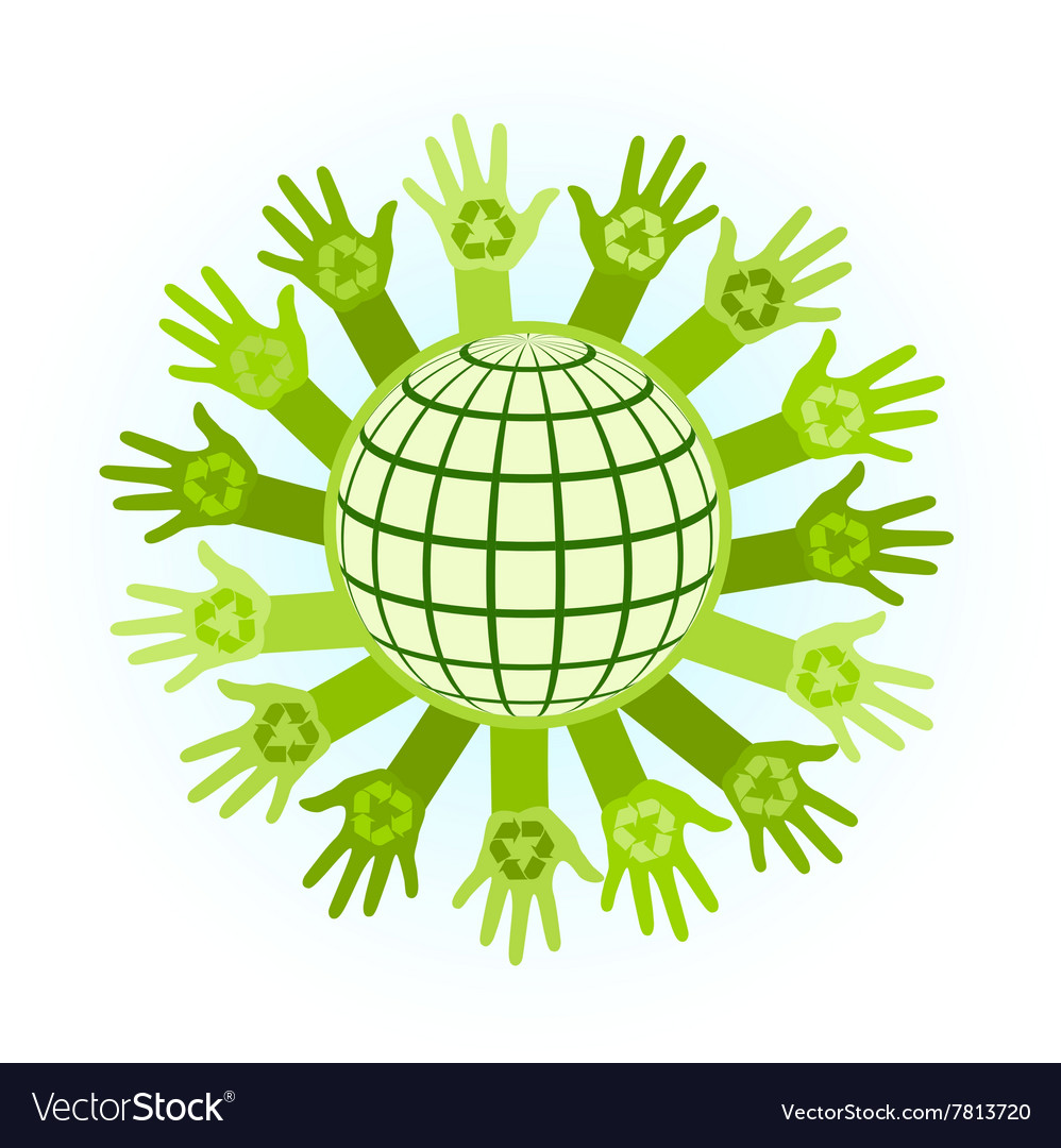 Abstract with raising hands vector image