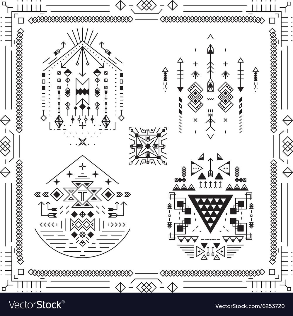 Boho tribal ethnic elements vector image