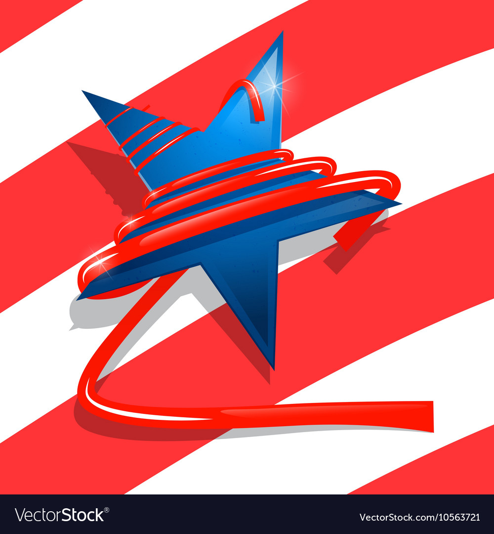 Blue Star with Red Ribbon USA Symbol - American vector image