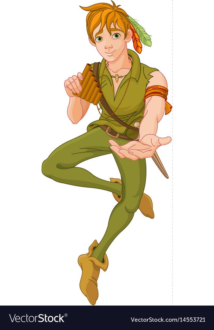 Boy wearing peter pan costume vector image