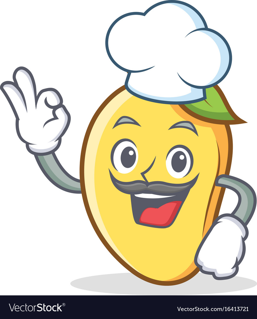 Chef mango character cartoon mascot vector image
