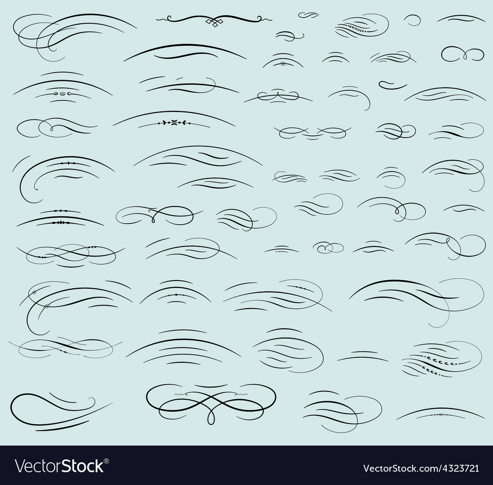 Set of calligraphic swashes and flourishes vector image
