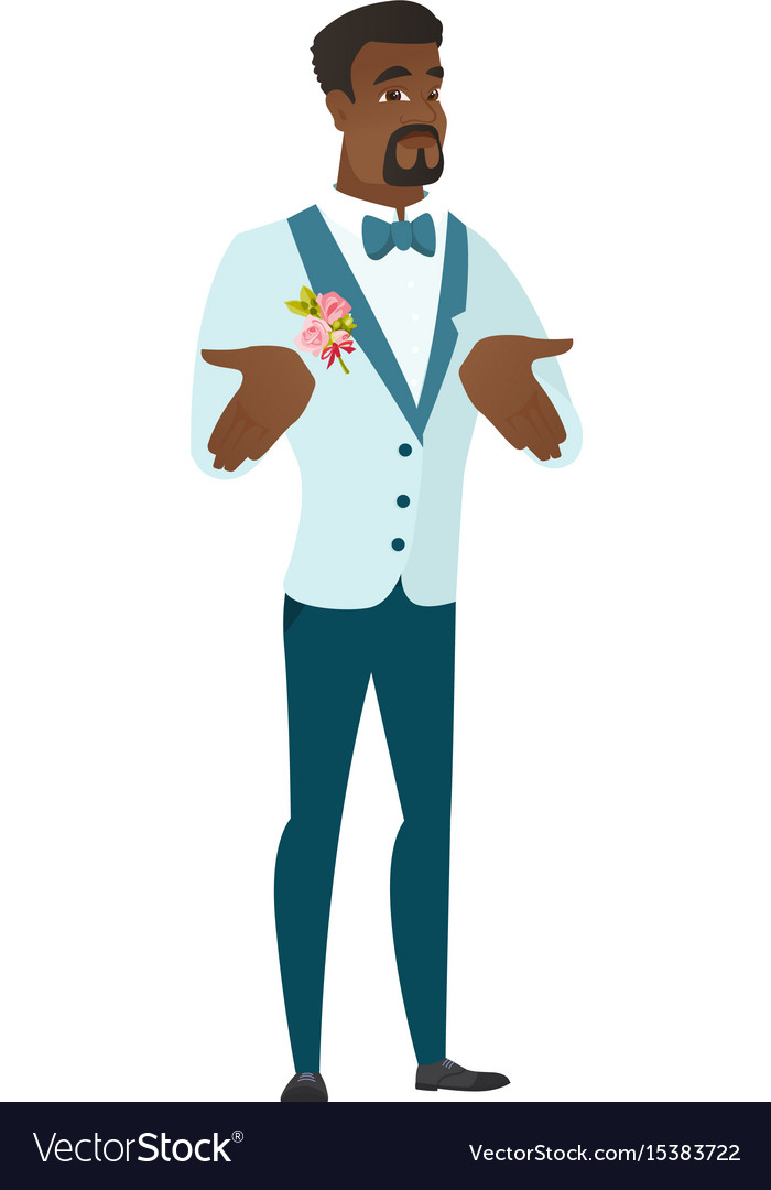 African confused groom shrugging shoulders vector image