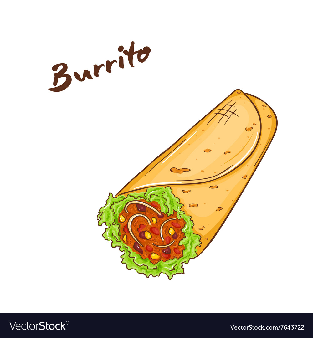 Isolated cartoon hand drawn fast food burrito vector image