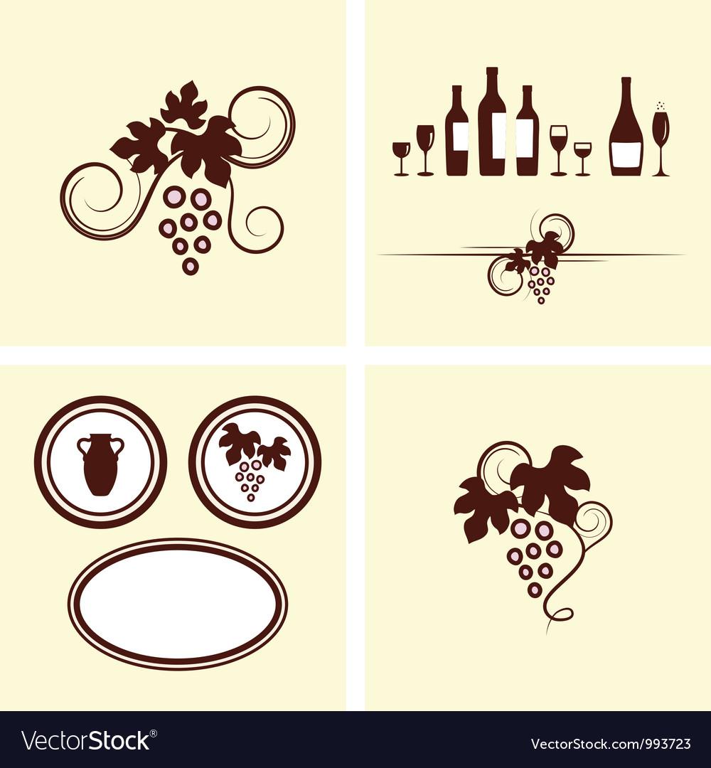 Grape vines elements set vector image