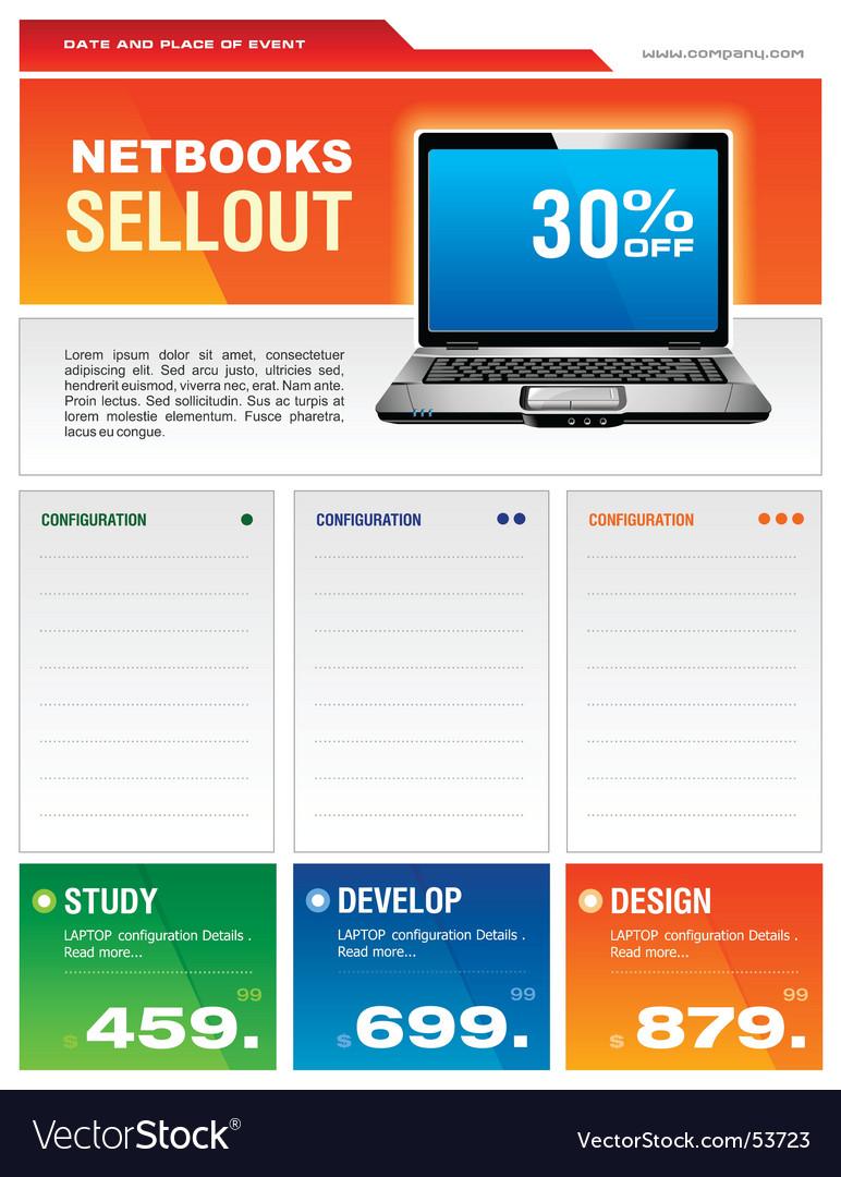 Laptop brochure vector image