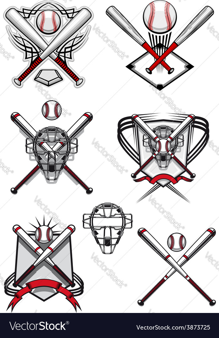 Baseball symbols with heraldry elements and tribal vector image