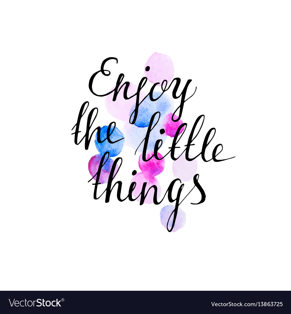 Enjoy the little things ink hand lettering vector image