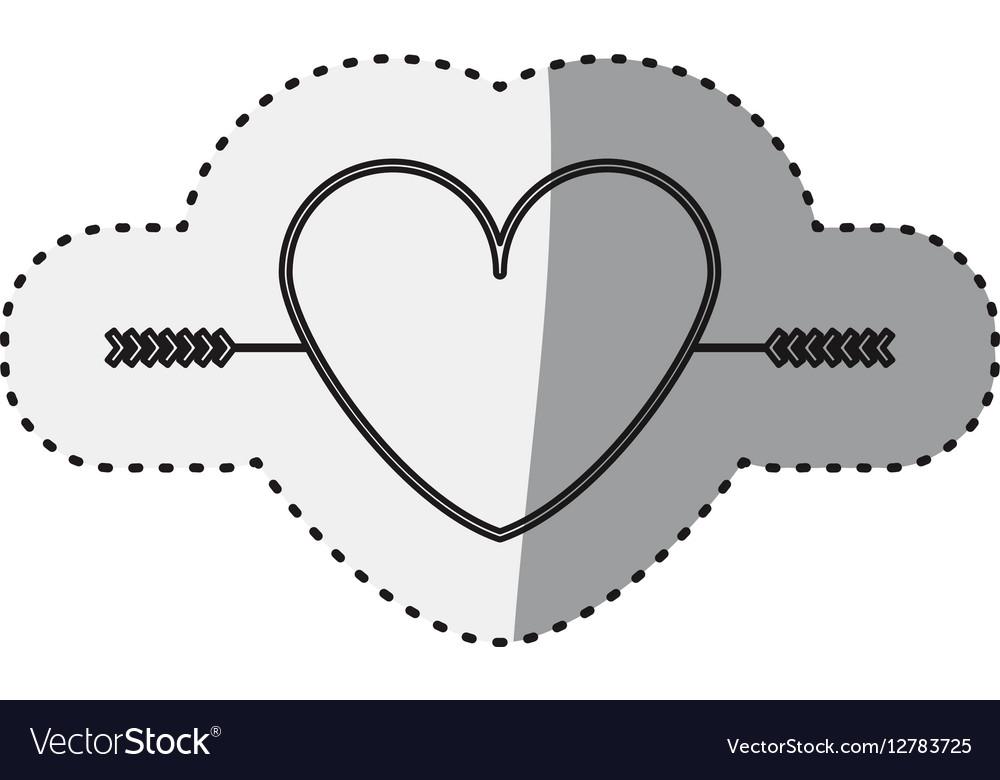 Sticker silhouette heart crossed by arrow vector image