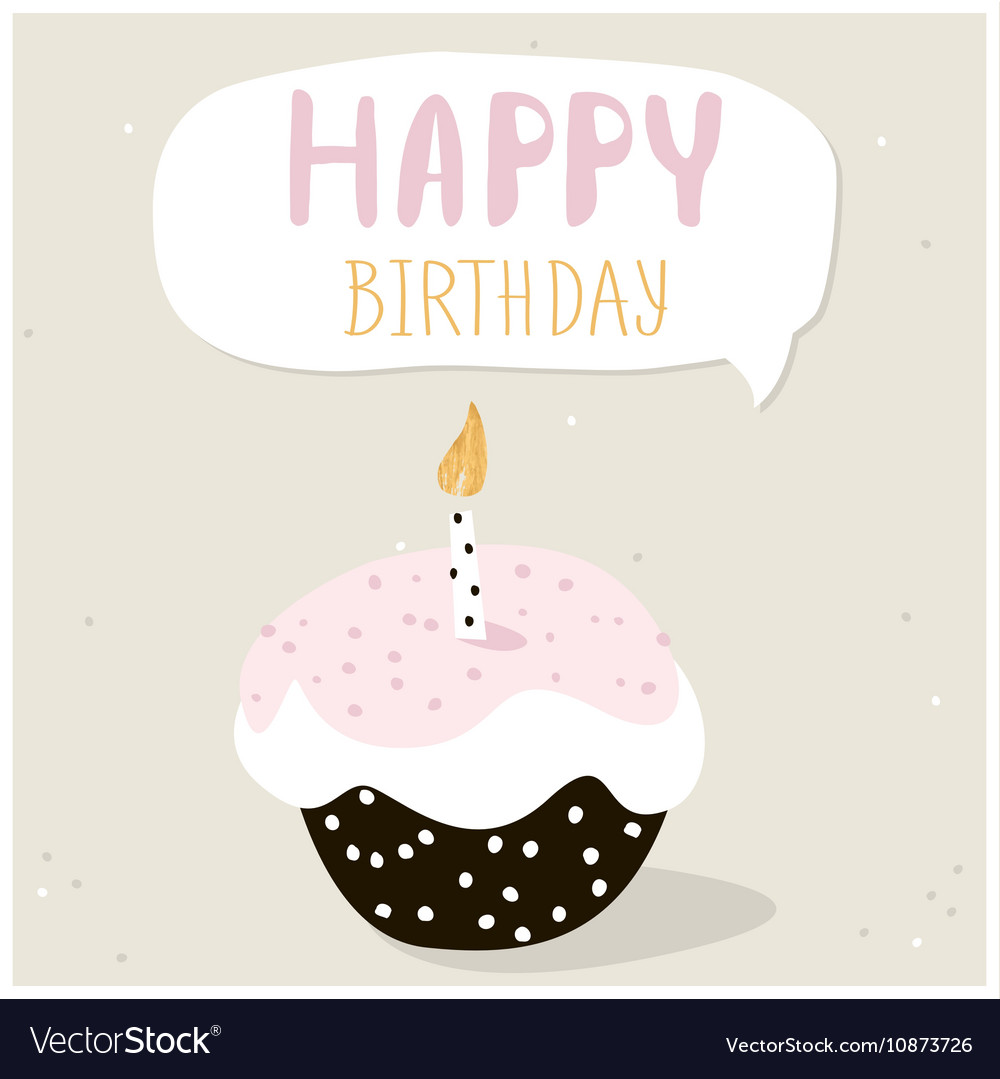 Cute cupcake with happy birthday wish Greeting Vector Image – Birthday Wish Greeting Images