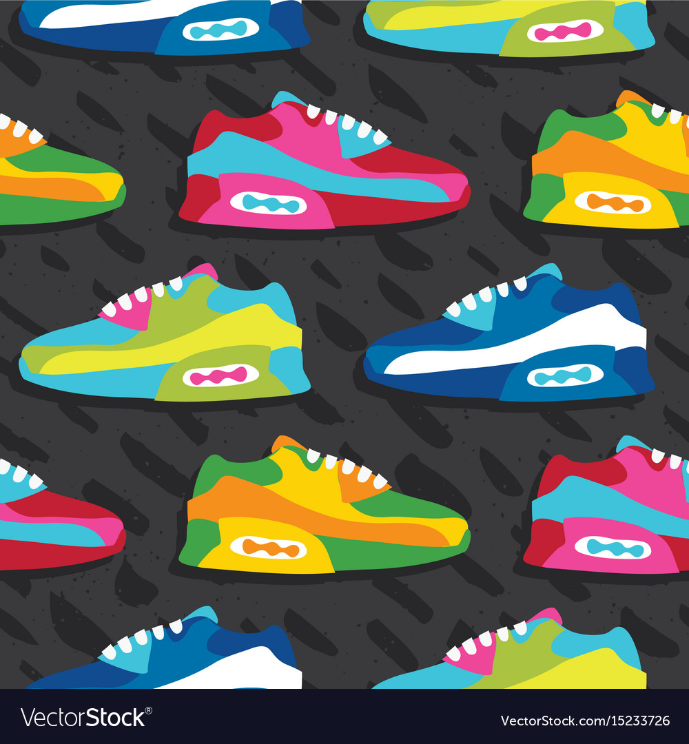 Hand drawn cartoon style sneaker shoes vector image