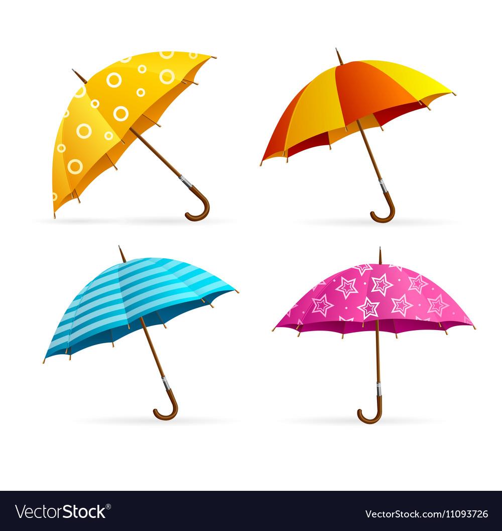 Realistic Open Colorful Umbrellas Set vector image