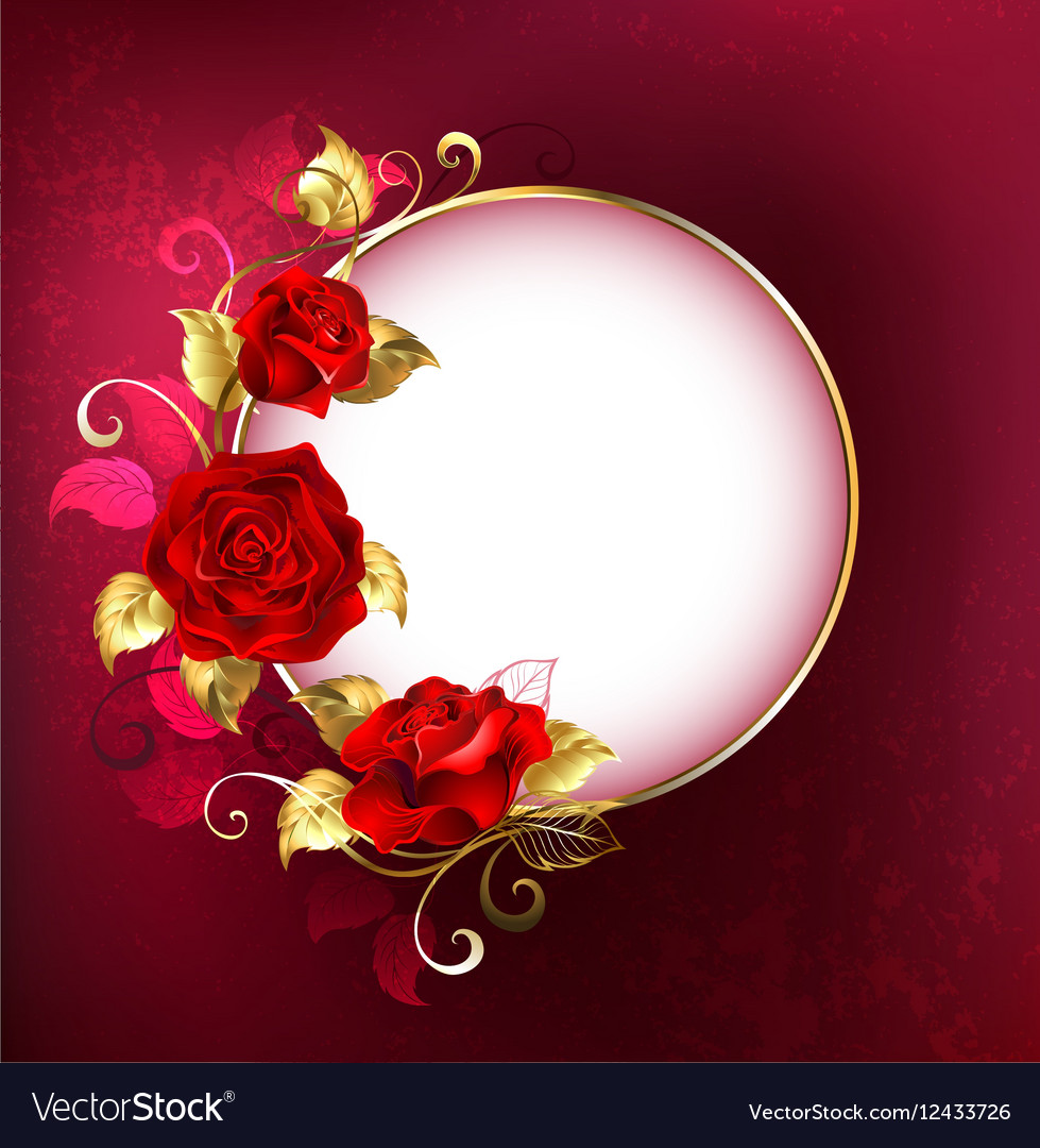 Round Banner with Red Roses vector image