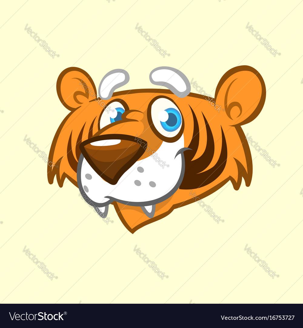 Cartoon tiger head icon vector image