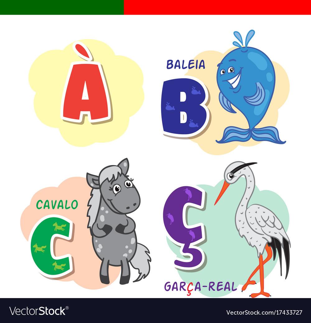 Portuguese alphabet horse heron whale the vector image