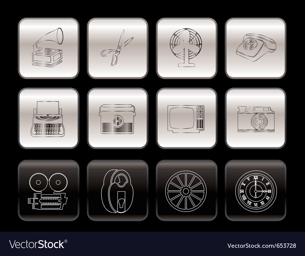 Retro business and office object icons vector image