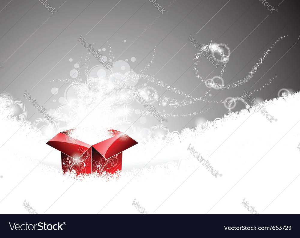 Christmas with gift box on snowflakes vector image
